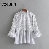 VOGUEIN Nowych Kobiet Casual Lace Floral Patchwork Striped Drukuj 3/4 Flare Rękawem Bluzy Bluzka Topy Hurt