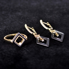 Blucome Black Square Ceramics Jewelry Sets Earrings Ring Set For Women Lady Zircon Stud Earrings Brincos Wedding Schmuck Joyas