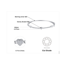 Love Heart Crown Bracelet Sterling Silver Bangle For Women