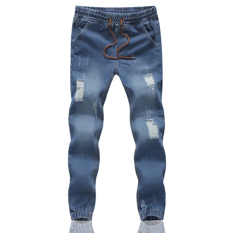 MOGU новые Джоггеры мужские длинные джинсы с отворотами плюс размер 5XL джинсы с эластичной талией мужские светло-голубые рваные джинсы для мужчин - Цвет: dark blue