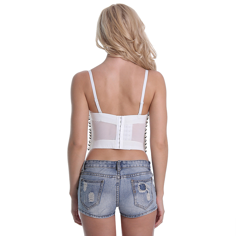 0ff288cab5 CIEMIILI 2018 Summer Sexy Top Beading Women Red White Spaghetti Strap Short  Runway Night Club Sexy Bra Bodycon Bralette Crop Top-in Camis from Women s  ...