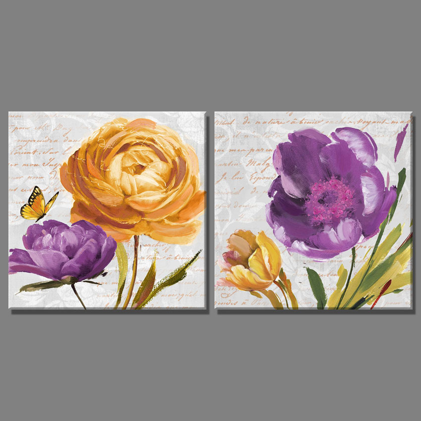 2 Piece Purple yellow flower and Butterfly pictures canvas ...