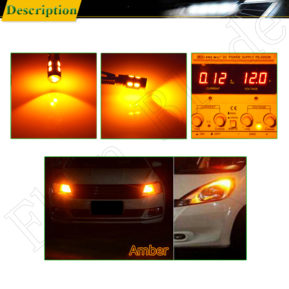 Image 5 - 2/4 шт T10 W5W 194 168 Автомобильные светодиодные 5630 10SMD Canbus Авто Интерьер клина стороны Паркер сигнальные лампы лампа Amber желтый 12 V-in Сигнальная лампа from Автомобили и мотоциклы