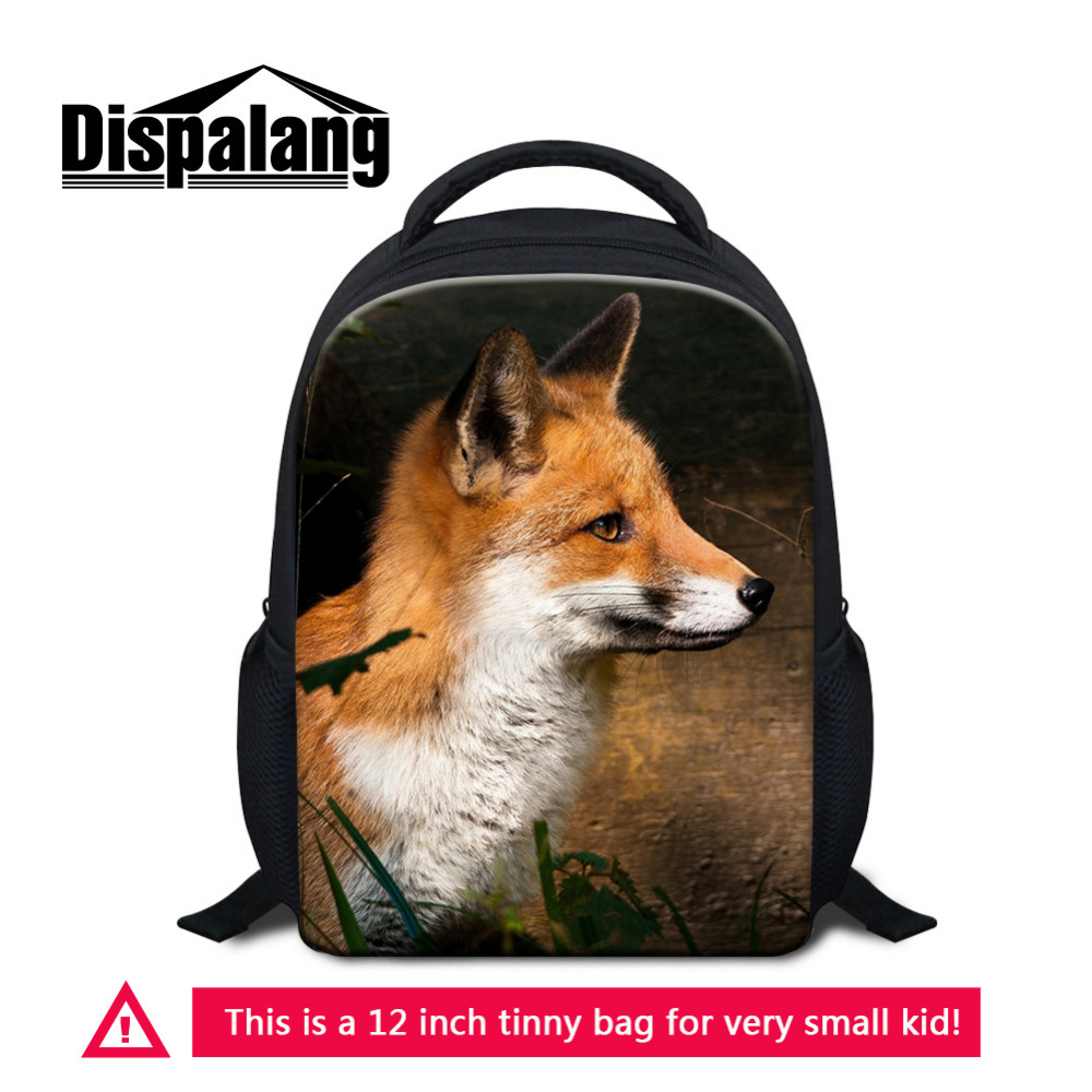 Dispalang Small School Bag Fox Animal Print Kids Bag Children Kindergarten Mini Backpack Baby Schoolbags Satchel for Boys Girls