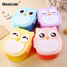 GXYAYYBB 1Pcs /Cartoon Owl Plastic Lunch Box Bento Boxs Food Fruit Storage Container Microwave Children Gift Hot