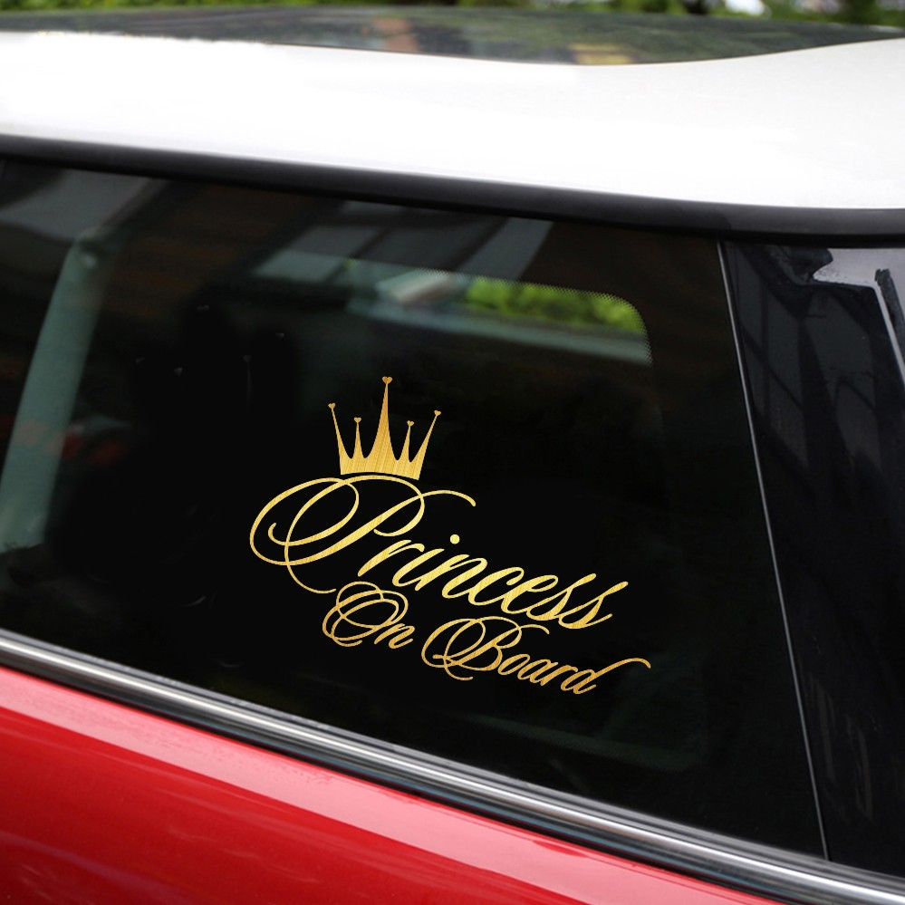 Best selling princess on board car stylings funny personality motorcycle car sticker fashion vinyl decal black white 16 510 9cm in car stickers from