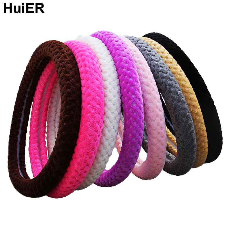 HuiER Plush Auto Car Steering Wheel Cover Warm Soft Comfortable Anti-slip For 38CM/15 Car Styling Steering-wheel Steering Cover