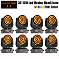Новое поступление 8xlot Zoom Led Moving Head Light 36x15W 5in1 RGBWA цвет смешивания Zoom Beam 15-60 градусов Led Moving Head шайба