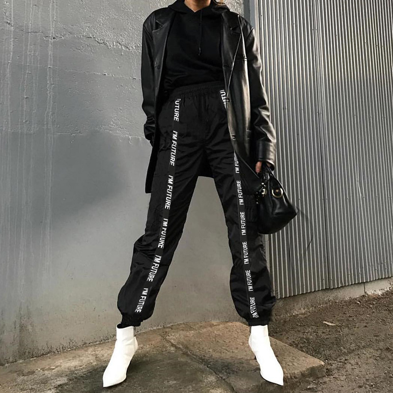 HOUZHOU Harem Pants Trousers Women Full Length Loose Jogger Mujer Sporting Elastic Waist Black Casual Combat Streetwear Fashion 1