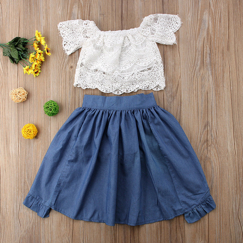 4b21bc734d8 2019 New Girl Clothing Set Children Off Shoulder Lace Top And Denim ...