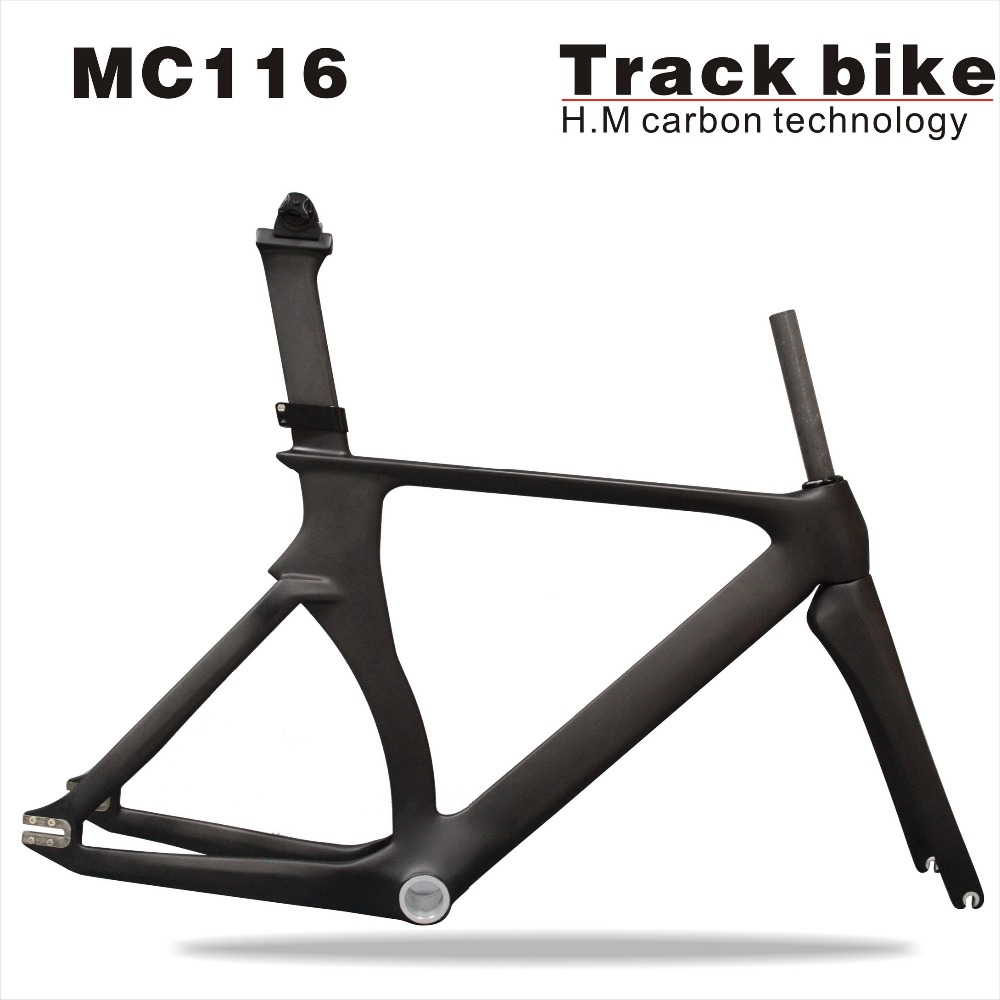2018 AERO Track bike Carbon frame t700Carbon road frame Fixed Gear Carbon Track Frame with fork seatpost 48.5/52/54/57cm 53cm 55cm 58cm fixed gear bike frame matte black bike frame fixie bicycle frame aluminum alloy frame with carbon fork