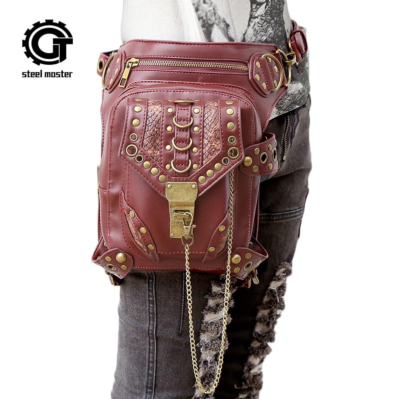 Steampunk gótikus táskák Messenger válltáskák férfi női személyiség pénztárca retro szikla láb derék táska 2017 új divat