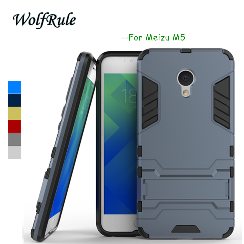 "Meizu M5 Pouzdro na telefon Meizu M5 Mini Cover 5,2 "", silikonové pouzdro WolfRule + Plastové pouzdro sProPro Meizu M5 Pouzdro Meizu Meilan 5 Držák Fundas <{"
