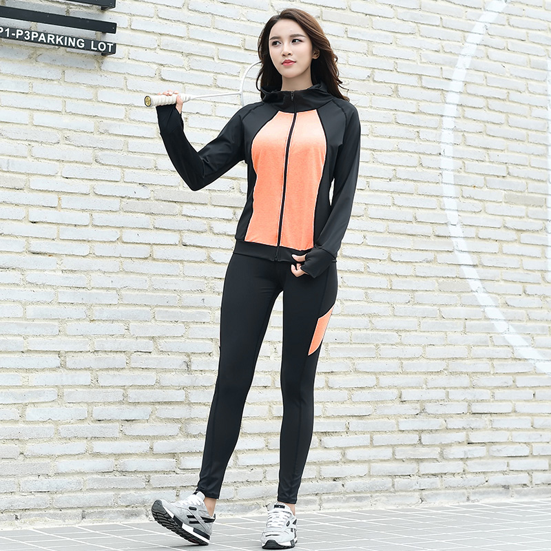 2018 New 3 Pieces in 1 Yoga Set Running Gym Clothes Fitness Female Solid Zipper Black and Orange&Grey Tracksuit Women Costume active mesh tracksuit in black