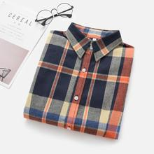 7580ad30099 2019 New Brand Women Blouses Long Sleeve Shirts Cotton Red and Black  Flannel Plaid Shirt Casual