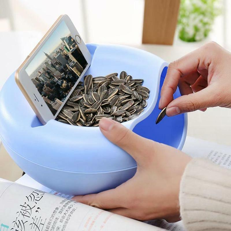 Image 2 - Lazy Plastic Double Layer Dry Fruit Containers Snacks Seeds Storage Box Garbage Holder Plate Dish Organizer Phone stand-in Storage Boxes & Bins from Home & Garden