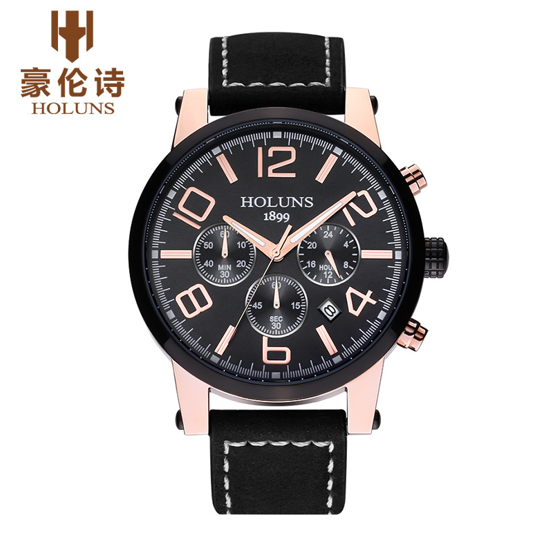 ФОТО HOLUNS TS101 Watch Geneva Brand Genuine multifunctional luminous watches men's watches Chronograph quartz relogio masculino