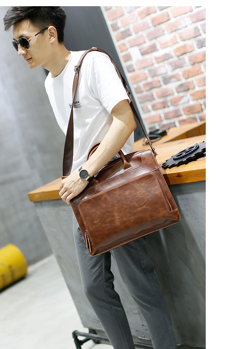 HTB1fdZYowMPMeJjy1Xdq6ysrXXaO Brand Men's Briefcase Handbag Crazy Horse Pu Leather Messenger Travel Bag Business Men Tote Bags Man Casual Crossbody Briefcases