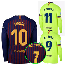 44c87fd01 2019 Barcelonaing adult Long sleeve 2018 2019 football jerseys quality man  Home red Away soccer Shirts size S-2XL Free shipping