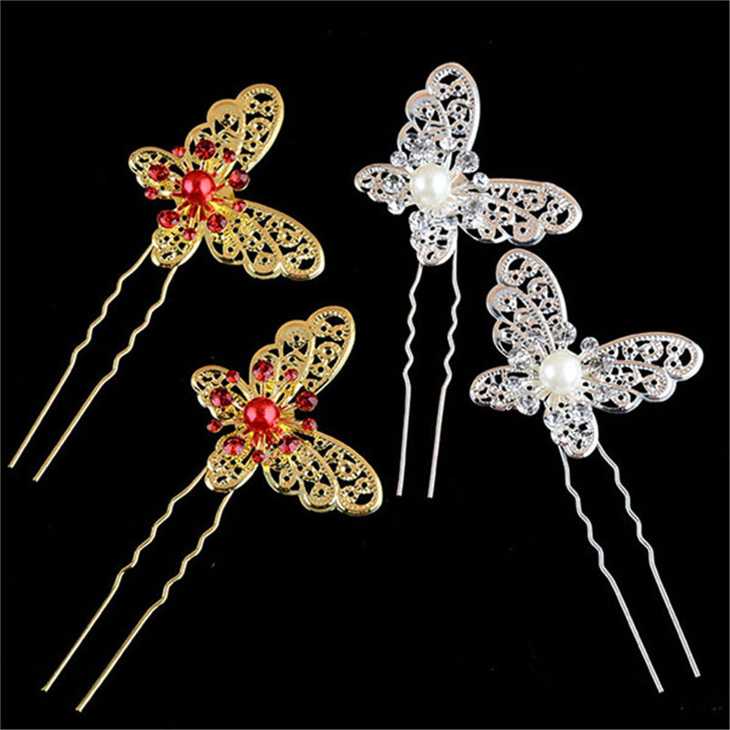 1Pcs Alloy & Crystal Butterfly Shaped Hair Pin 2 Colors Bride Rhinestone Wedding Dress Costume Headdress Hairpins Wholesale