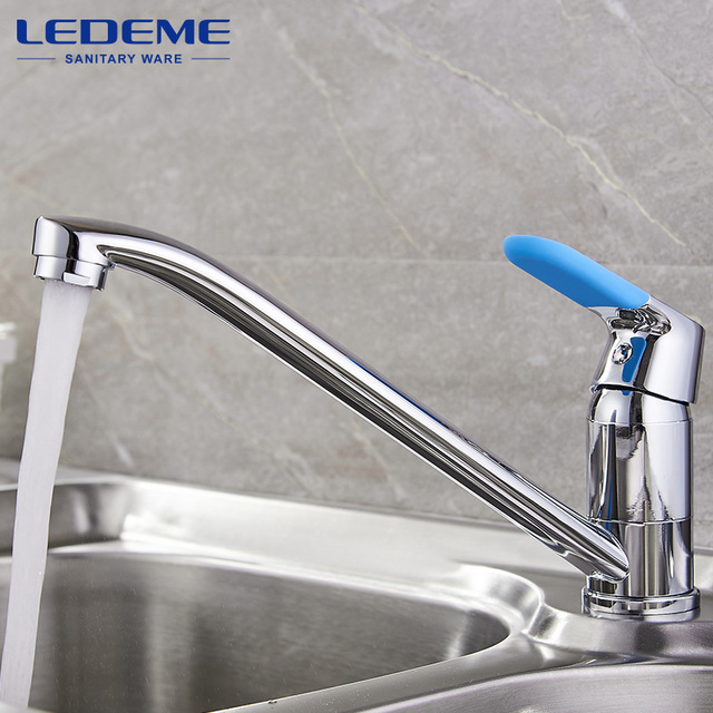 LEDEME Kitchen Sink Faucet Chrome Plated Single Handle 2 Holes Hot Cold  Mixer Finish Home Faucets