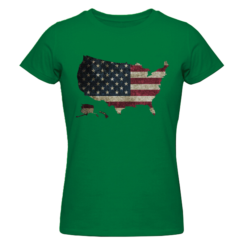 New Fashion Design Women's T Shirt US Flag Map American Flag Graphic Printed Top Tee 100% Cotton O-neck T-shirts Size XS-2XL