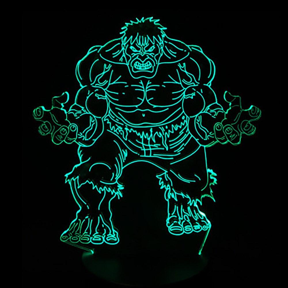 3D LED Super Hero Hulk Night Light 7 Color Changing Desk Table Lamp Sleep Light Boy Kid Gift Bedside Lampara Light Fixture Decor