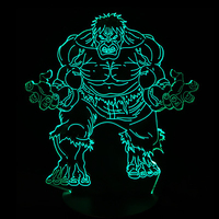 3D LED Super Hero Hulk Night Light 7 Color Changing Desk Table Lamp Sleep Light Boy