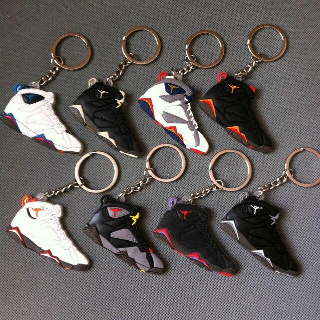 82b857d74db373 Jordans 7 Keychains For Keys Keyring Key Holder Souvenirs Porta Chaves Boys  Rings Retro Shoes Jordan Key Chains