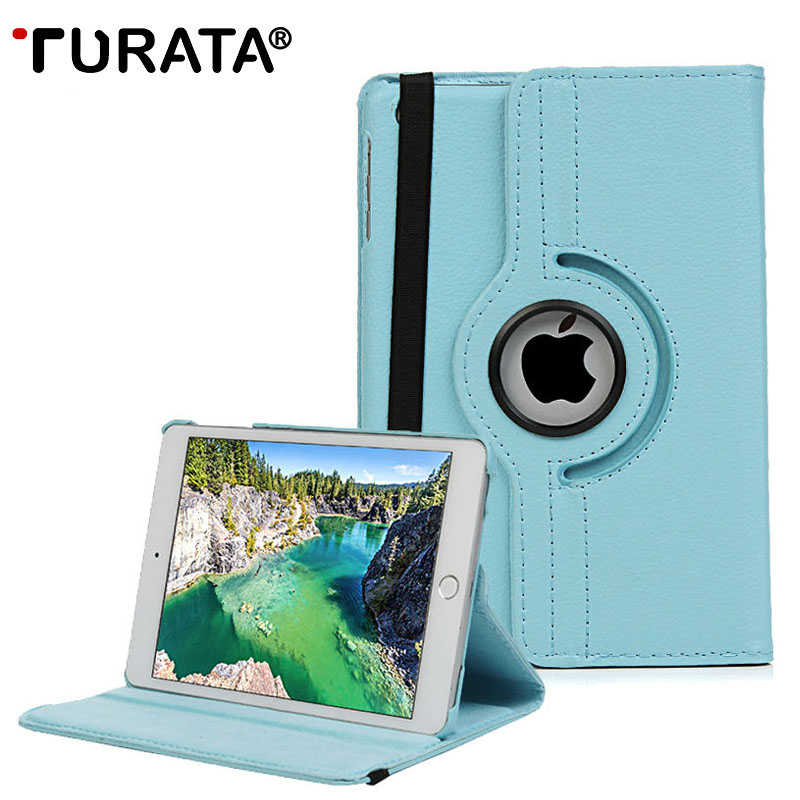 TURATA Leather Case For iPad MINI iPad Mini 3 2 1 Smart Flip PU 360 Rotating Magnetic Stand Holder for iPad Mini 3 2 1 Cover