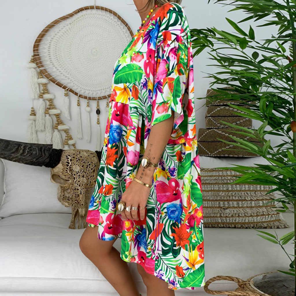 Vestidos femininos المرأة السيدات فضفاض الأزهار طباعة نصف كم فستان قصير فستان صيفي ملابس الصيف للنساء
