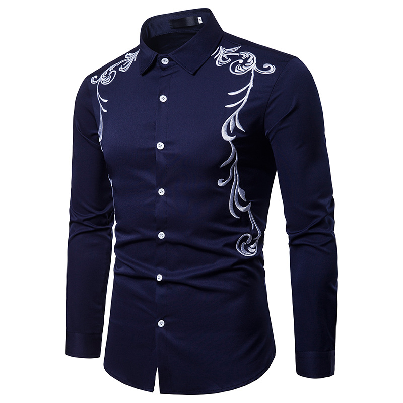 Brand Superior quality fall New men's shirt embroidered lapel large size casual slim long sleeve shirt camisa masculina