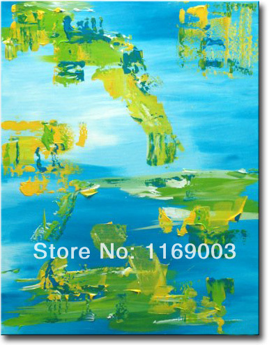 large Abstract modern blue green canvcas art font b knife b font paint oil painting only