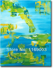 large Abstract modern blue green canvcas art knife paint  oil painting only on canvas for living room wall office decoration