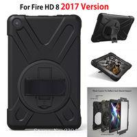 Tablet Kılıf Amazon 2017 Sürümü Yeni Kindle Yangın HD 8 Için kapak Funda Çocuklar Güvenli Darbeye Ağır Silikon Sert El Tutucu