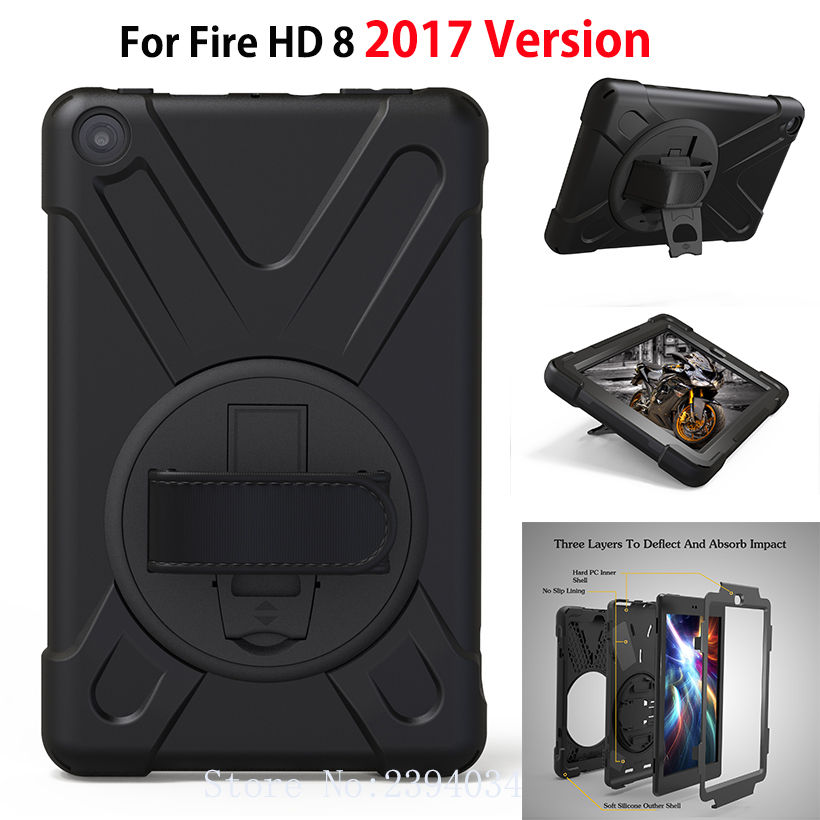 Tablet Case For Amazon 2017 Version New Kindle Fire HD 8 Cover Funda Kids Safe Shockproof Heavy Duty Silicone Hard Hand Holder for amazon kindle fire hd 8 2017 pirate tablet case cover shockproof heavy duty silicone pc stand case w wrist shoulder strap