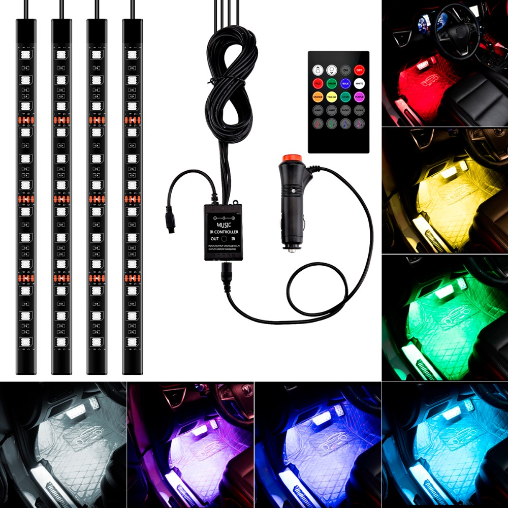 4Pc Car Auto Music Control RGB LED Strip 12LED 5050 SMD Voice Controller Flexible Light LED Tape Home Decoration Atmosphere Lamp rgb led strip smd 5050 rgb 5m diode tape with 20 keys music ir remote controller 12v 3a power adapter flexible decoration light
