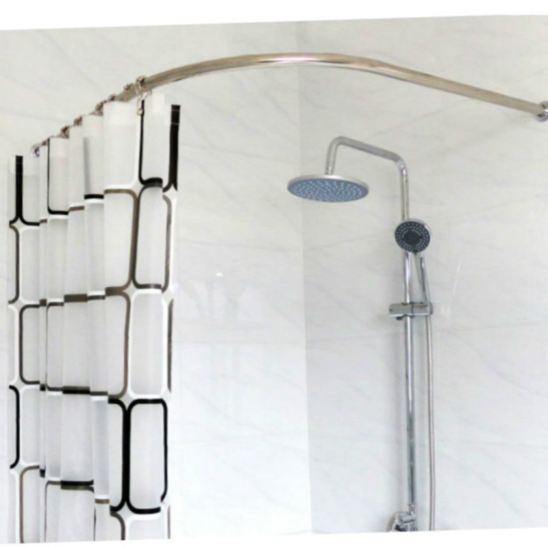 Shower curtain rods curved stainless steel curtain for Bathroom curtain poles