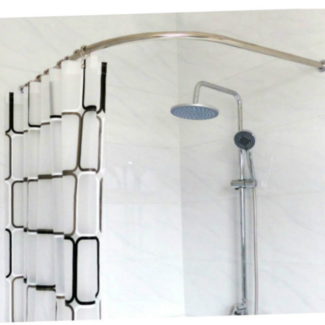 Stainless Steel Curved Shower Curtain Pole Rod Rail Bathroom ...