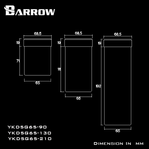 Barrow YKD5G65 90 130 210mm cylinder water tank extension tank for D5/MCP655 series pump extending use computer water cooling.