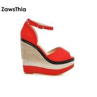 ZawsThia Sexy Open Toe Weave Patch Color Wedges Gladiator Sandals Women High Heels Platform Sandals Summer