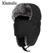 Xlamulu Winter Women Bomber Hats Men Fur Warm Thickened Balaclava Winter Hats For Women Bomber Hat