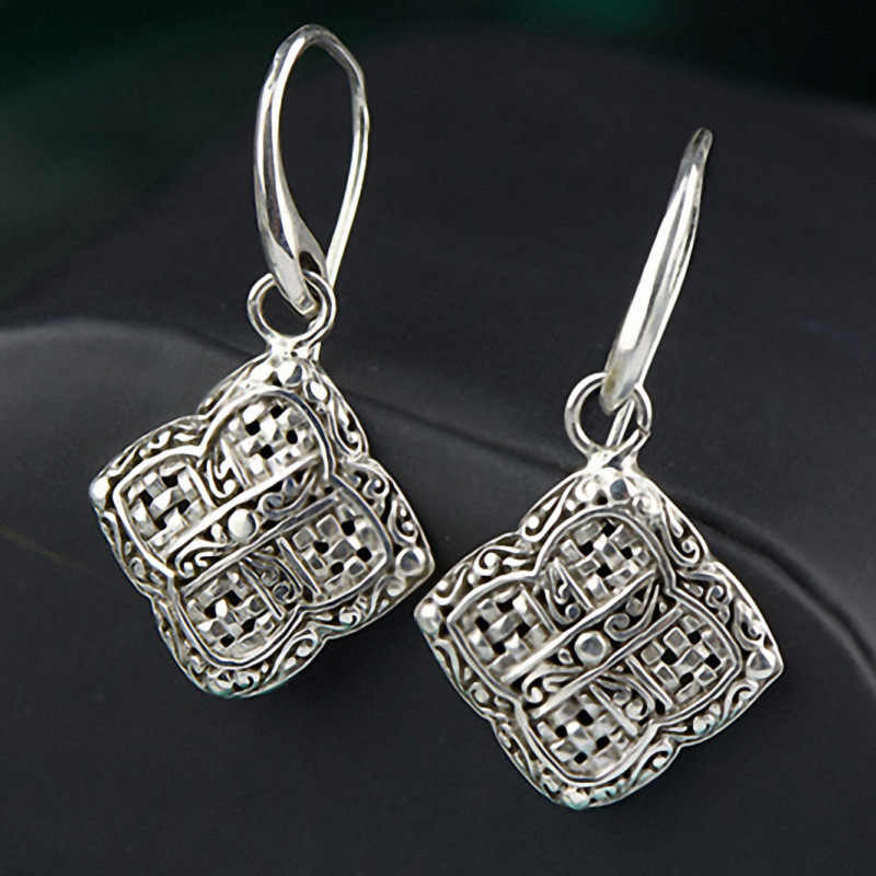 Silver 925 Earing Braided Square Shape Vintage Punk Drop Earings For Women Fashion Trendy Jewelry Zilveren Oorbellen