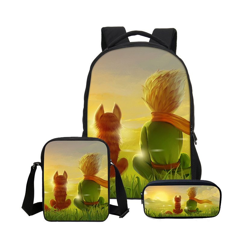 VEEVANV Designer The Little Prince 3PC Set Boys School Backpacks Luxury Student Shoulder Bags DIY Prints Cool Children Bookbags hanes little boys 5 pack red label prints boxer brief
