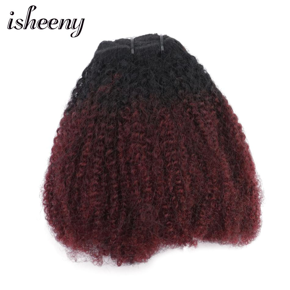 Isheeny Clip Full Head 1B/99J Afro Kinky Curly Clip In Hair Extensions 8pcs/set Brazilian Remy Human Clip Hair 120g