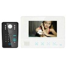 Оптовая Проводной Сенсорный Ключ 7 «Видео-Телефон Двери Домофон RFID Пароль Дверной Звонок ИК Камера с Ночным Видением