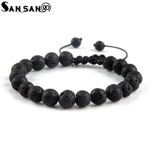 New Design Black Volcanic Stone Beads Bracelet Woman Men Lava Healing Balance Reiki Prayer adjustable bracelet