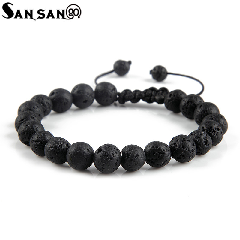New Design Black Volcanic Stone Beads Bracelet Woman Men Lava Healing Balance Re