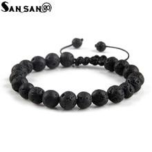 Pulsera de cuentas de piedra volcánica negra para hombre y mujer, brazalete ajustable de Reiki con equilibrio curativo de Lava, nuevo diseño