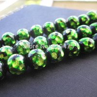 10pcs/lot Lampwork Beads Handmade 10mm Luminous Lampwork Glass Foil Beads Green Color for bracelet Necklace Making